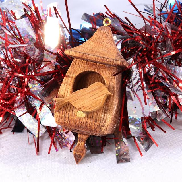 Handmade Wood Birdhouse Christmas Tree Ornament