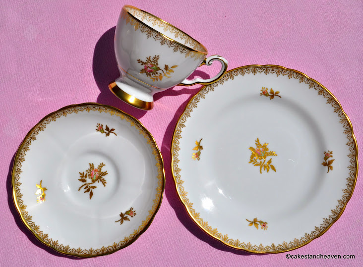 Rosalie pattern vintage china teacup trio
