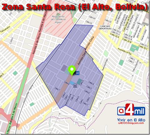 Santa Rosa: zona del Distrito 1 de El Alto
