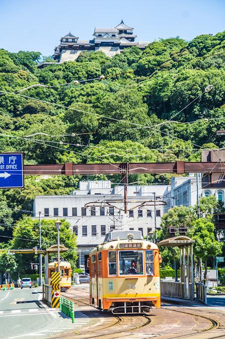 松山城 路面電車 2