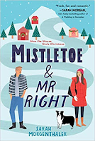 Book cover for Mistletoe and Mr Right: cartoony snow mountain peak with hero on left side and heroine in red parka with black and white dog on the right.