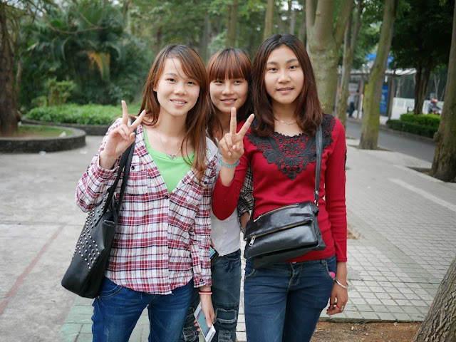 three young women in Zhanjiang