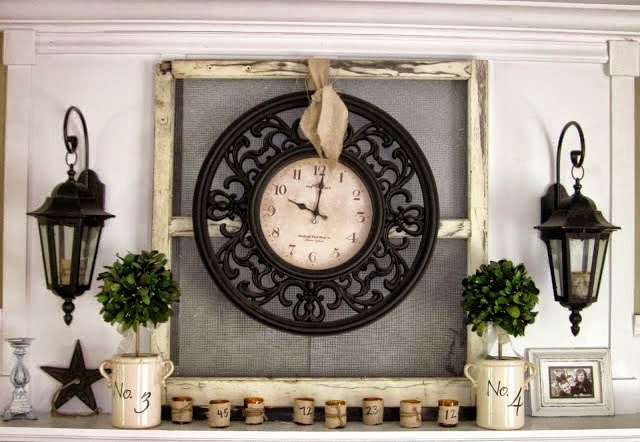 clock on an old window frame