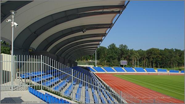 Puławy Stadion MOSiR, Widok na sektor A z trybuny dla kibiców gości