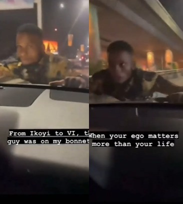 Suspected tout hangs on the bonnet of a lady from Ikoyi to VI for parking on 'his parking space' (video)