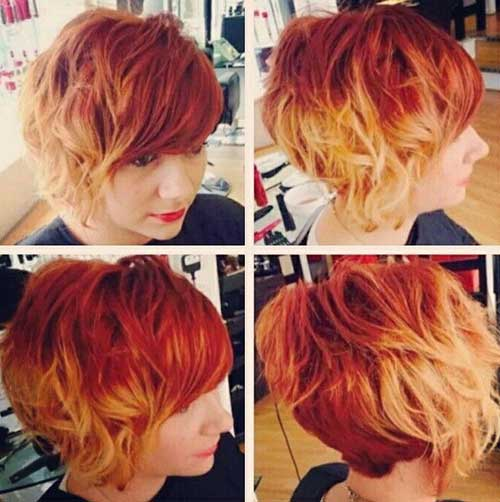 Short Blonde and Red Ombre Wavy Hairstyle | Fashion Qe
