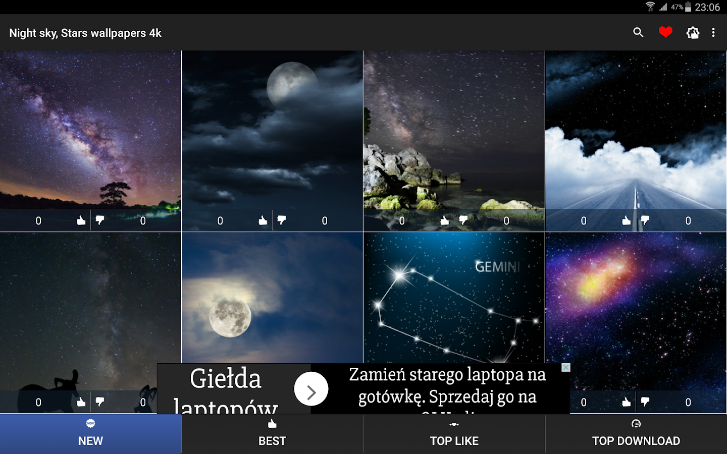 Night sky stars wallpapers 4k android apps on google play for Night sky wallpaper 4k