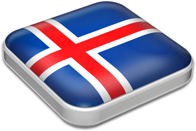 Flag of Iceland with metallic square frame