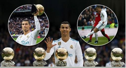 Cristiano Ronaldo Shows Off His 5 Ballon d'Or Awards At Bernabeu (Photos)