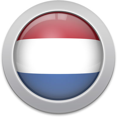 Dutch flag icon with a silver frame