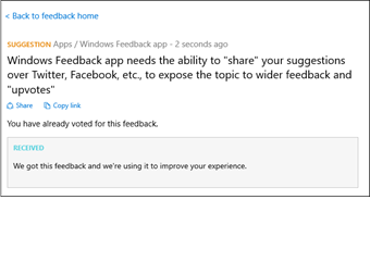 Windows 10 Feedback app with sharing option