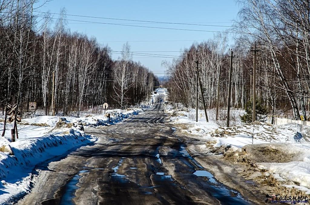 """Дорога на птицефабрику и в ЗК """"Владимир"""". Вот удивительно, при какой погоде дорогу достаточно было посыпать песком с солью один раз и дня за 2-3 она бы полностью растаяла. Но нет. Идти по ней было очень скользко."""