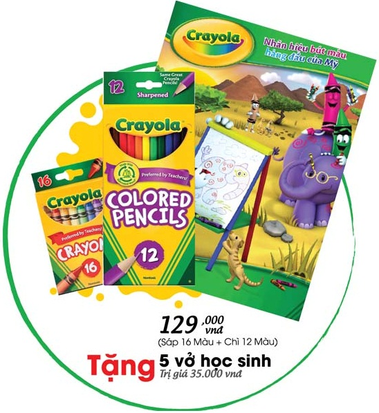 Bộ Combo 07 Bút chì 12 màu và Bút sáp 16 màu Crayola