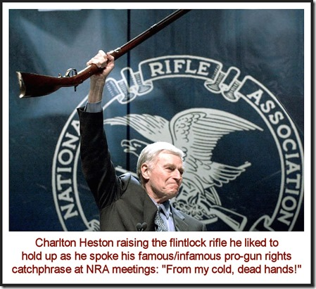 Charlton Heston & flintlock, Cold Dead Hands speech
