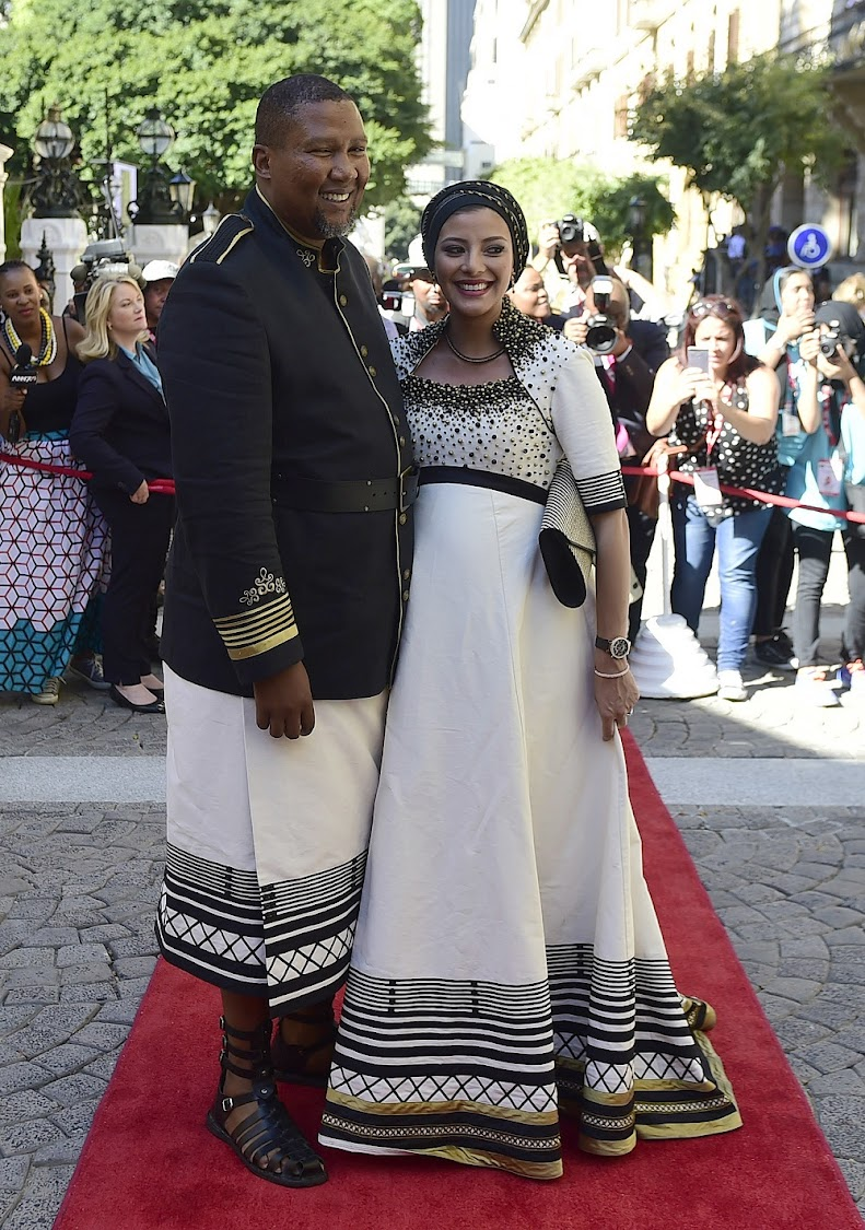 Nelson Mandela's grandson, Mandla Mandela and his wife Nkosikazi Nosekeni Rabia Mandela arrive for the 2017 State of the Nation Address (SONA)