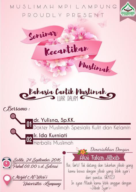"Ikuti Seminar Kecantikan ""Rahasia Cantik Muslimah Luar Dalam"""