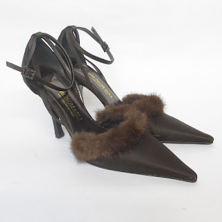 Bruno Magli Mink-Trimmed Ankle-Strap Pumps