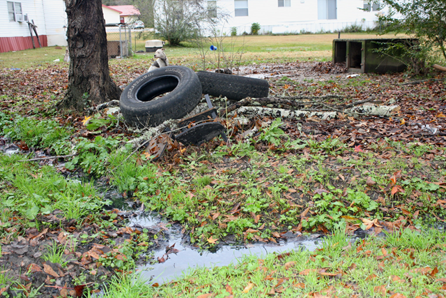 Open-air trenches carry raw sewage away from homes in a Butler County, Alabama community that Philip Alston, the UN's Special Rapporteur on extreme poverty and human rights, visited on Thursday, 7 December 2017. Photo: Connor Sheets / al.com