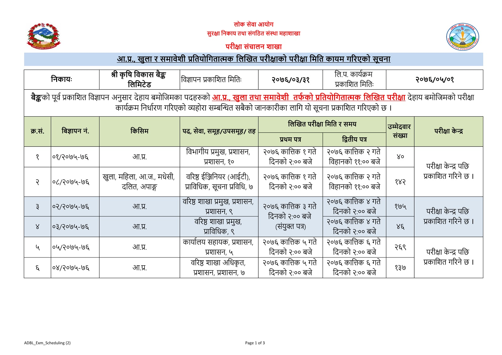 ADBL  Exam Routine  For  All Levels