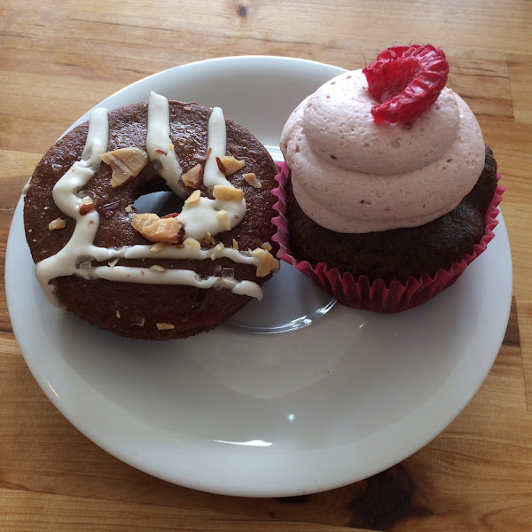 Salted caramel almond donut and chocolate raspberry cupcake