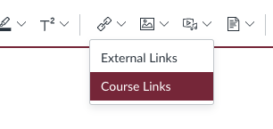 Link menu showing External and Course Links in Canvas LMS Enhanced RCE
