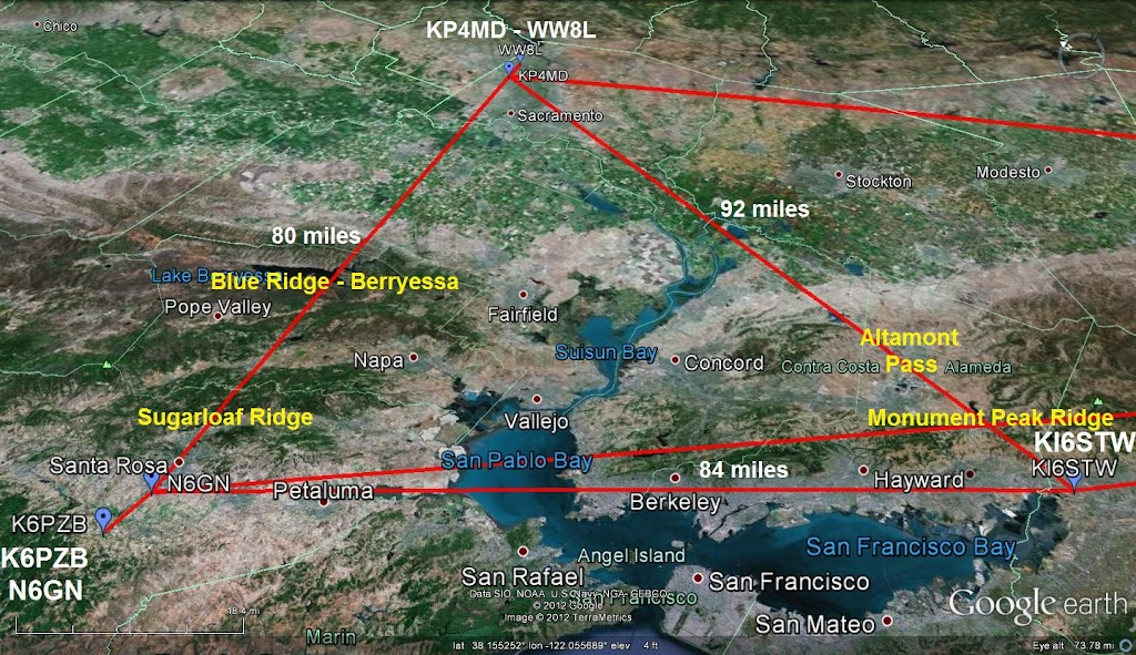 Northern California Stations in 2 meter WSPR