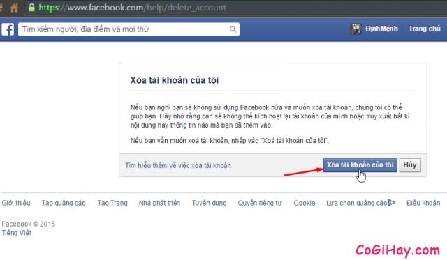 trang yêu cầu xóa tài khoản facebook