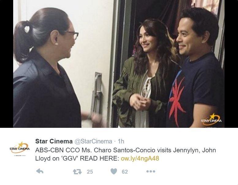 Charo Santos-Concio, Jennylyn Mercado and John Lloyd Cruz