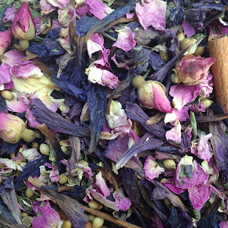 Herbal Tea with Persian Rose and Borage Flowers