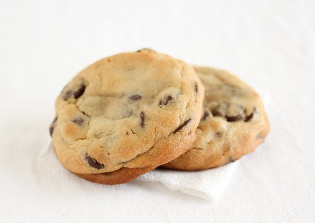 close-up photo of two chocolate chip cookies