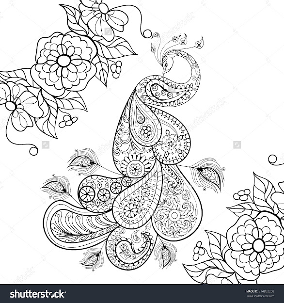 Zentangle Peacock Totem In Flowersfor Adult Anti Stress Coloring Page For  Art Therapy Illustration In