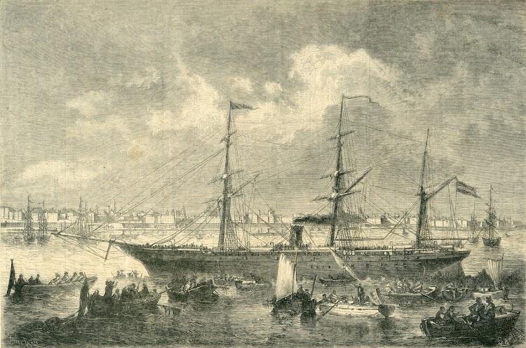 Llegada a Cádiz del vapor SANTANDER en fecha indeterminada. Ca. 1870. La Ilustración Española y Americana.jpg