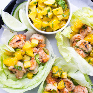 Spicy Coconut Shrimp Lettuce Wraps with Mango Basil Salsa Recipe