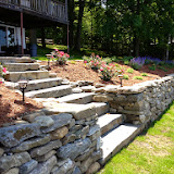 Fieldstone Retaining Wall and Slab Steps