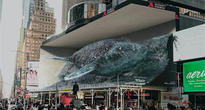 3D Waterfall & Immersive Whale Cool NYC's Times Square Down For The Summer