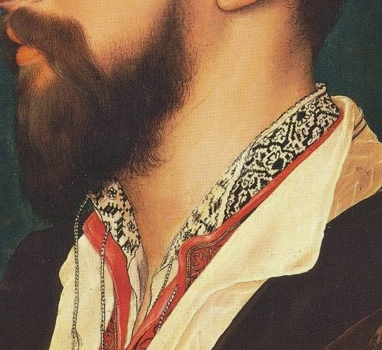 Detail of blackwork from Simon George, by Hans Holbein the Younger.jpg