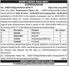 Northern Railway Sports Quota 2016 Corrigendum