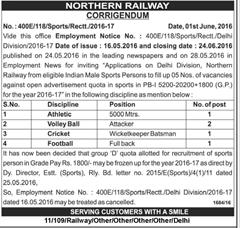 Northern Railway Sports Quota 2020 Corrigendum