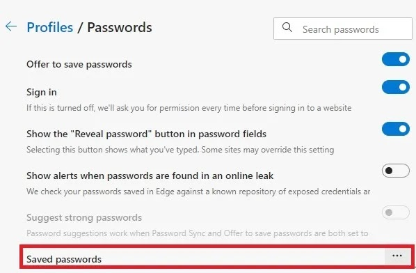استيراد تصدير Edge Saved Passwords 3 Dot