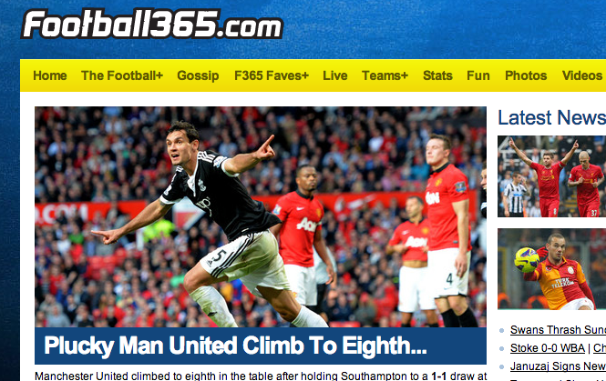 Brilliant Football365 headline: Plucky Man United climb to eighth...