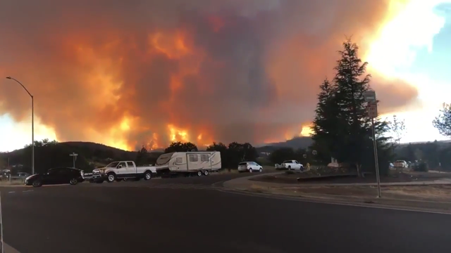 Screenshot of video taken by Dylan Duarte, a Mendocino County resident, of the River Fire taken as he evacuated on 28 July 2018. Photo: Dylan Duarte / Twitter