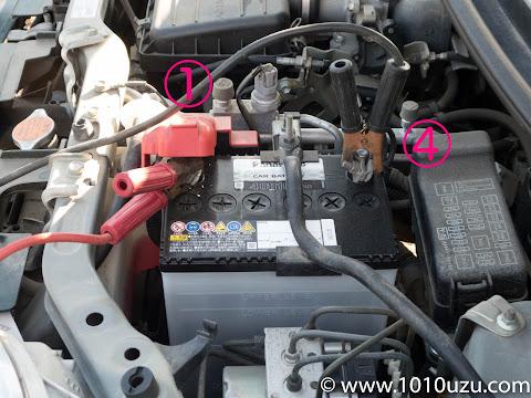 故障車(ミラジーノ)側のバッテリー