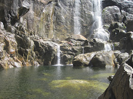 Diving into pools at the base of Bridal Veil Falls.
