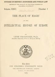 Cover of Lynn Thorndike's Book The Place of Magic in The Intellectual History of Europe