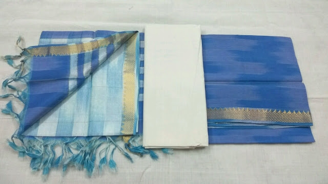 Sky color Mangalagiri Semi Silk Dress material