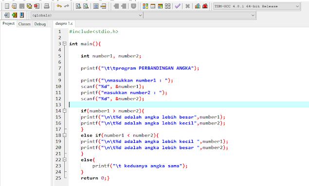 Cara Membuat Program Perbandingan Angka Bahasa Pemrograman C