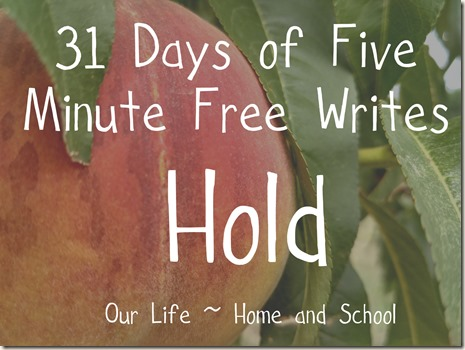 31 Days of Free Writes - Hold