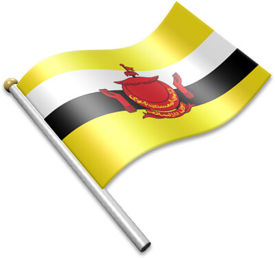 The Bruneian flag on a flagpole clipart image