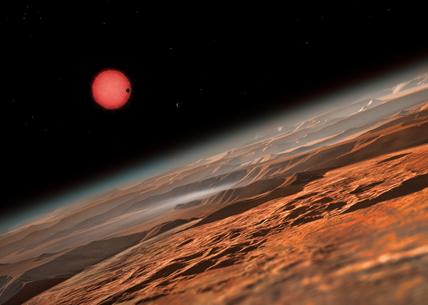 ilustração da estrela anã vista de muito perto de um dos seus planetas