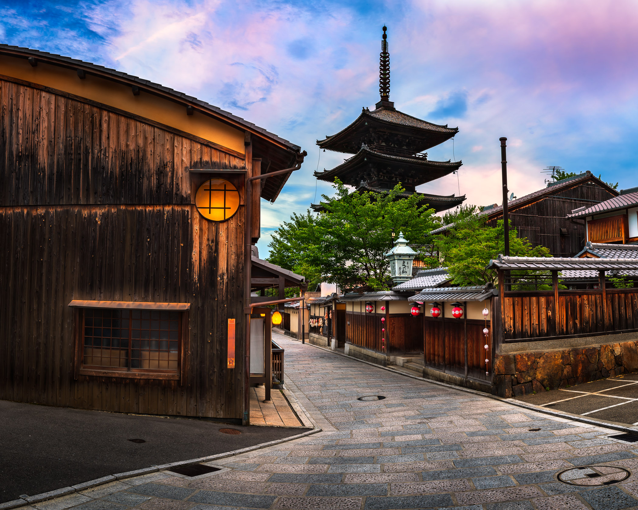 Yasaka Pagoda and Sannen Zaka Street in the Morning, Higashiyama, Kyoto, Japan